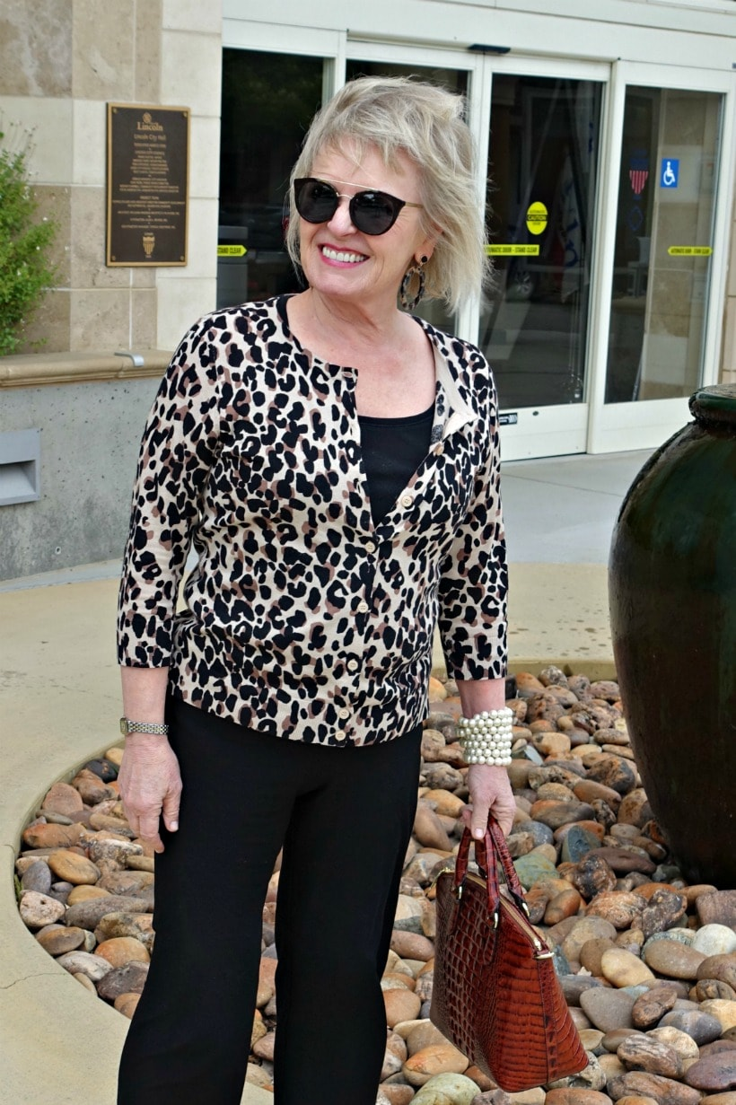leopard and black outfit on Jennifer Connolly of A Well Styled Life