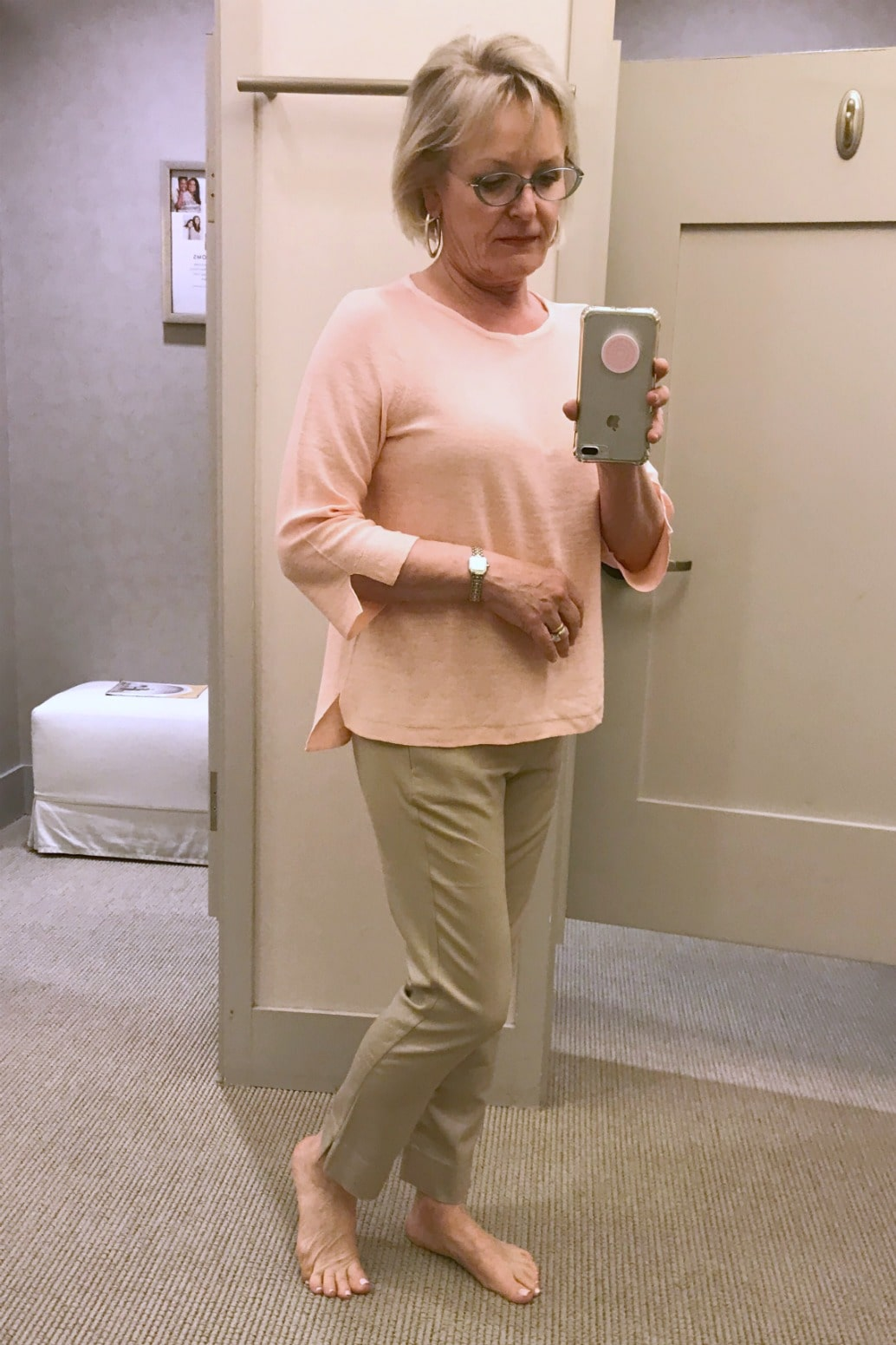 pink sweater and beige cotton pants from J.Jill styled on over 59 blogger, Jennifer Connolly of A Well Styled Life