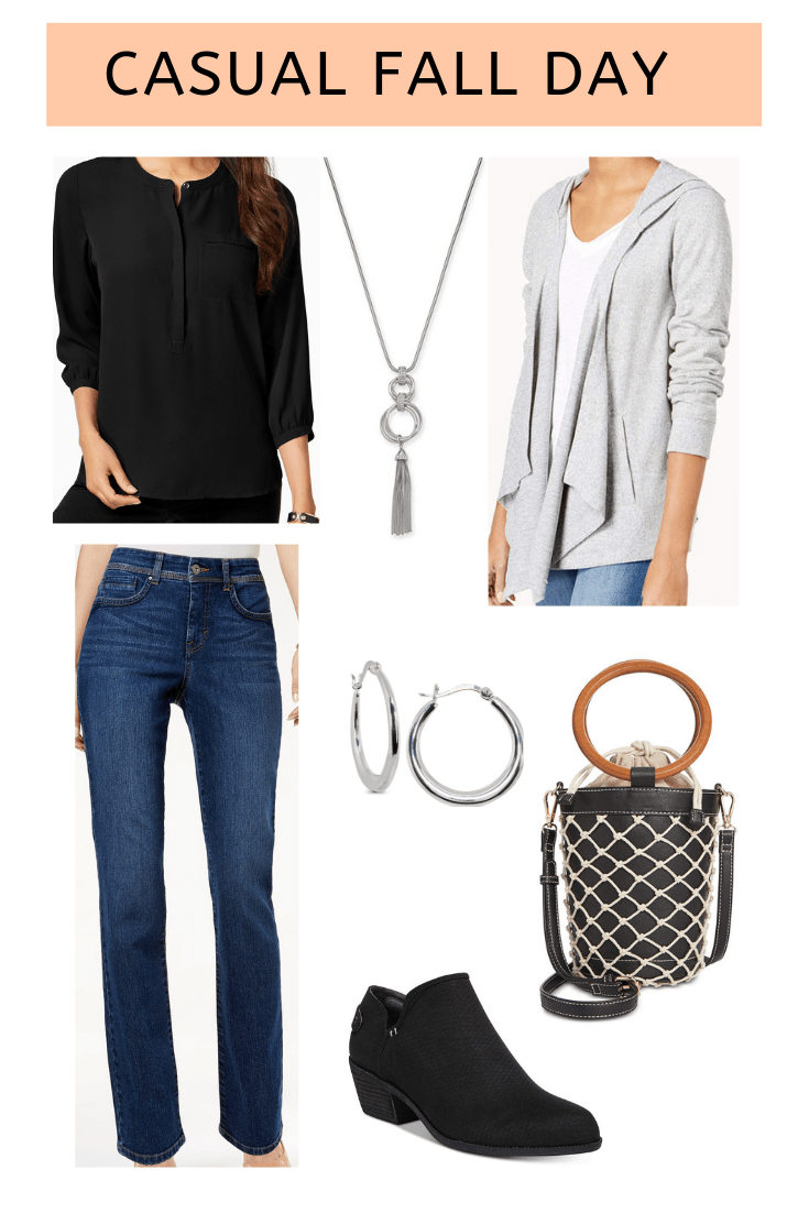 flat lay with gray cardigan, blue jeans, black booties, black top and black shoulder bag from Macy's on A Well Styled Life