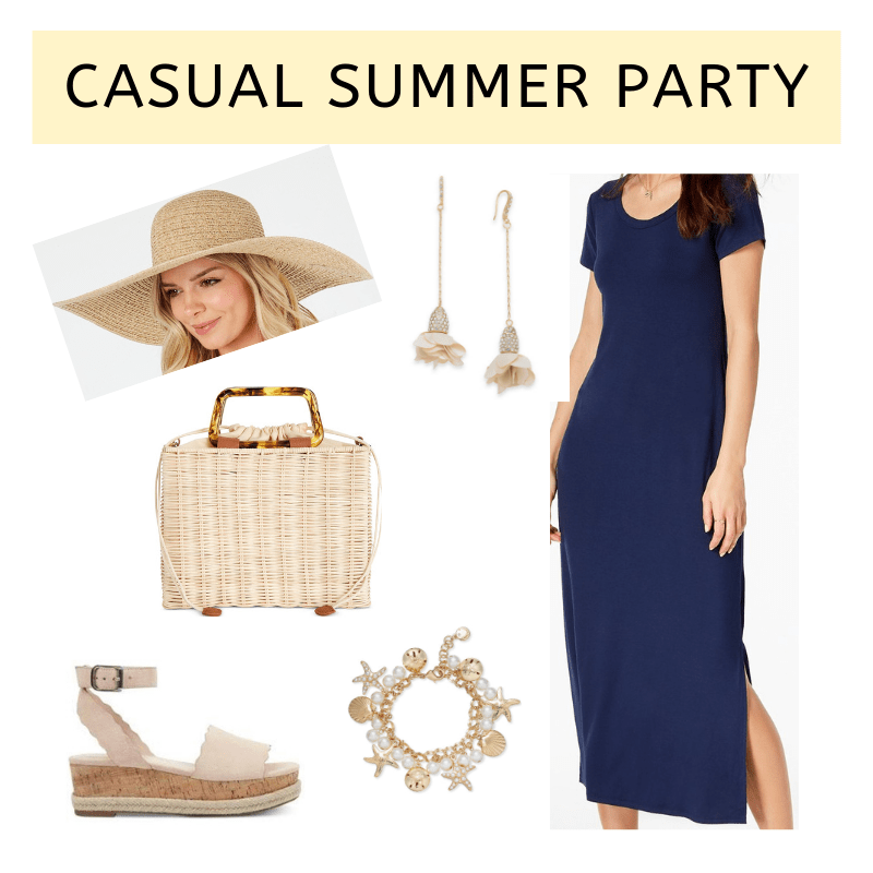 flat lay of navy tee dress, straw crossbody, straw hat, beige flatform sandals and gold-toned jewelry from Macy's on A Well Styled Life