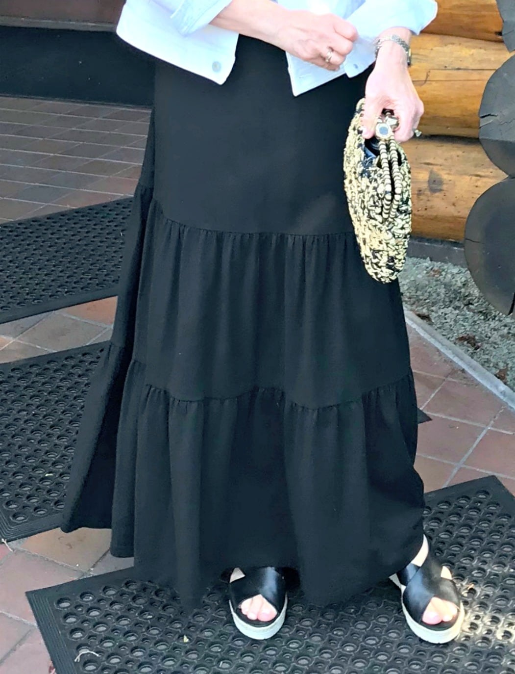 bottom flounce on maxi dress worn by Jennifer Connolly of A Well Styled Life