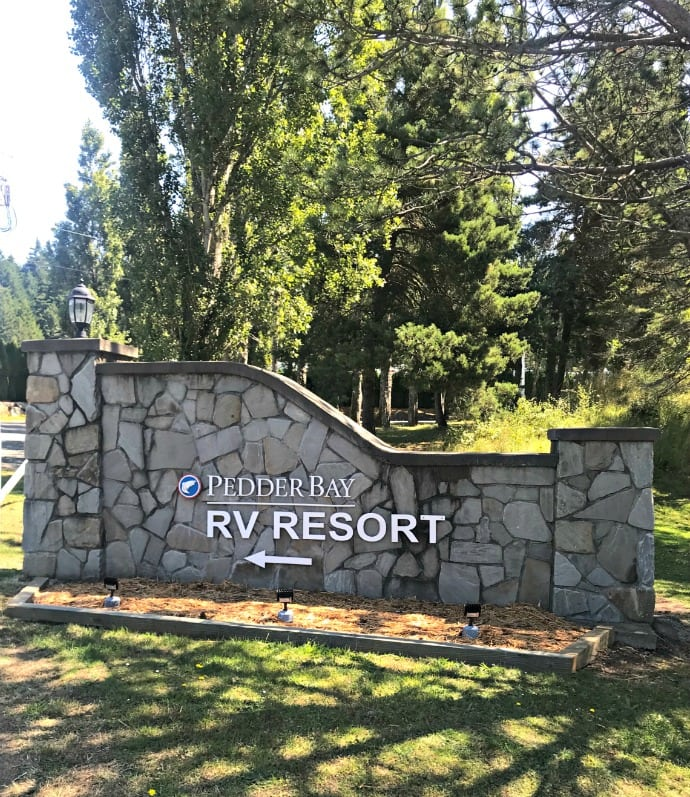 entrance to Pedder bay RV Resort on A Well Styled Life