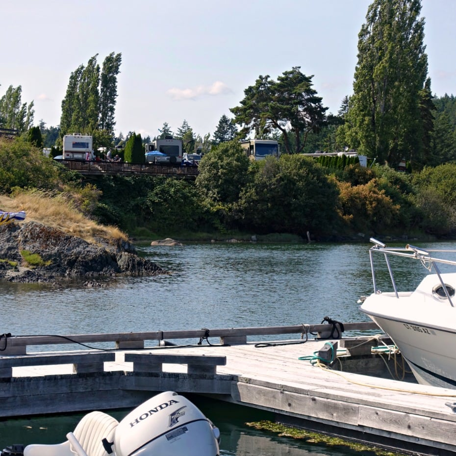 view of rv sites from Pedder Bay dock on A Well Styled Life