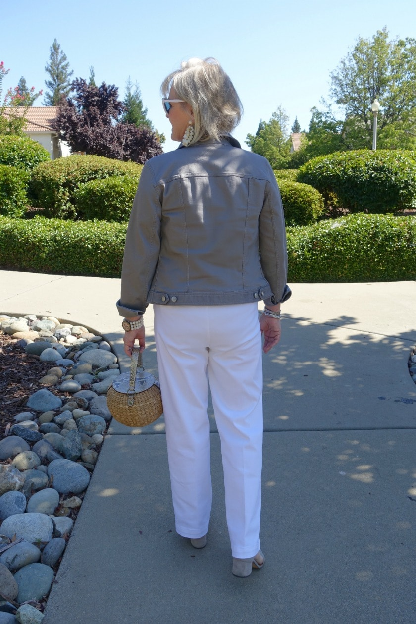 Jennifer Connolly of A well Styled life wears a casual look with denim jacket and white jeans from Talbots