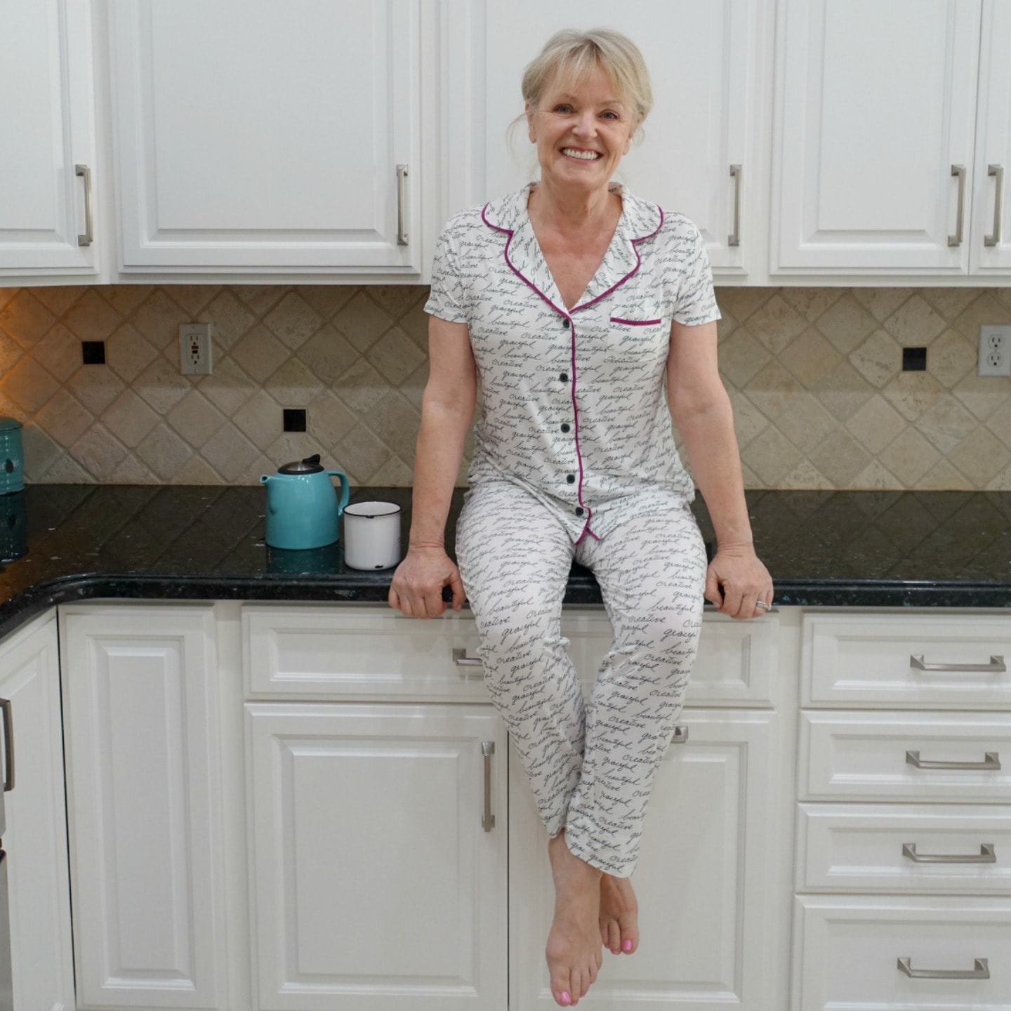 Jennifer Connolly of A Well Styled Life wearing Cool Nights pajamas