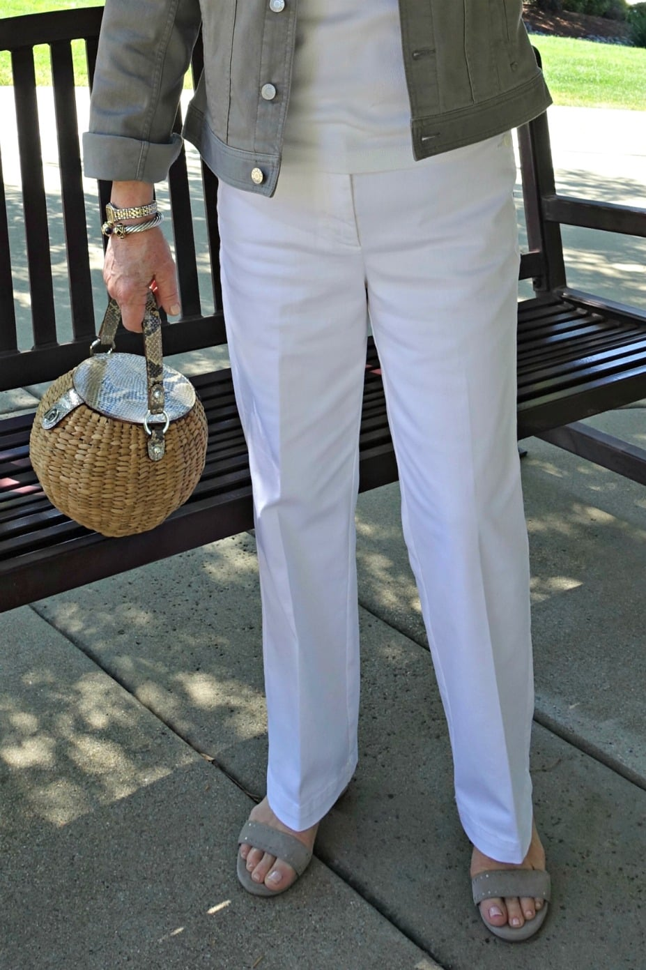 white denim trousers from Talbots on A Well Styled Life