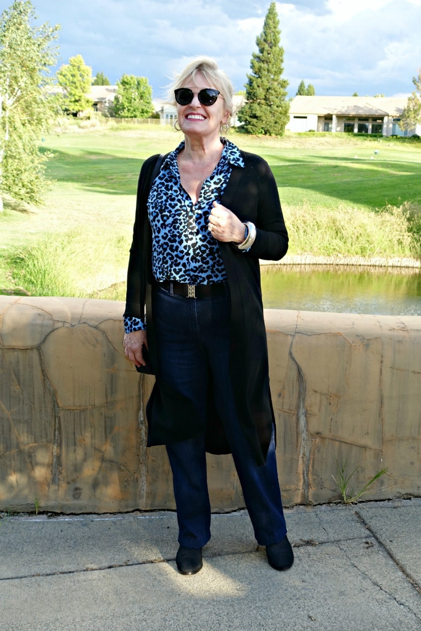 blue leopard print with denim trousers on Jennifer Connolly of A Well Styled Life
