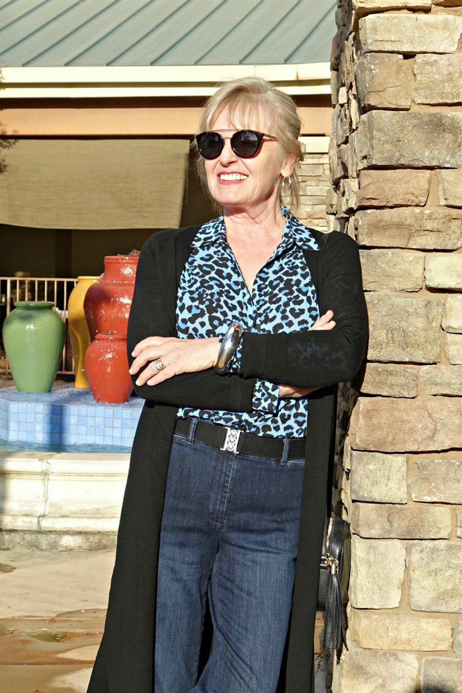 Jennifer Connolly of A Well Styled Life wearing leopard trend with Talbots denim trousers