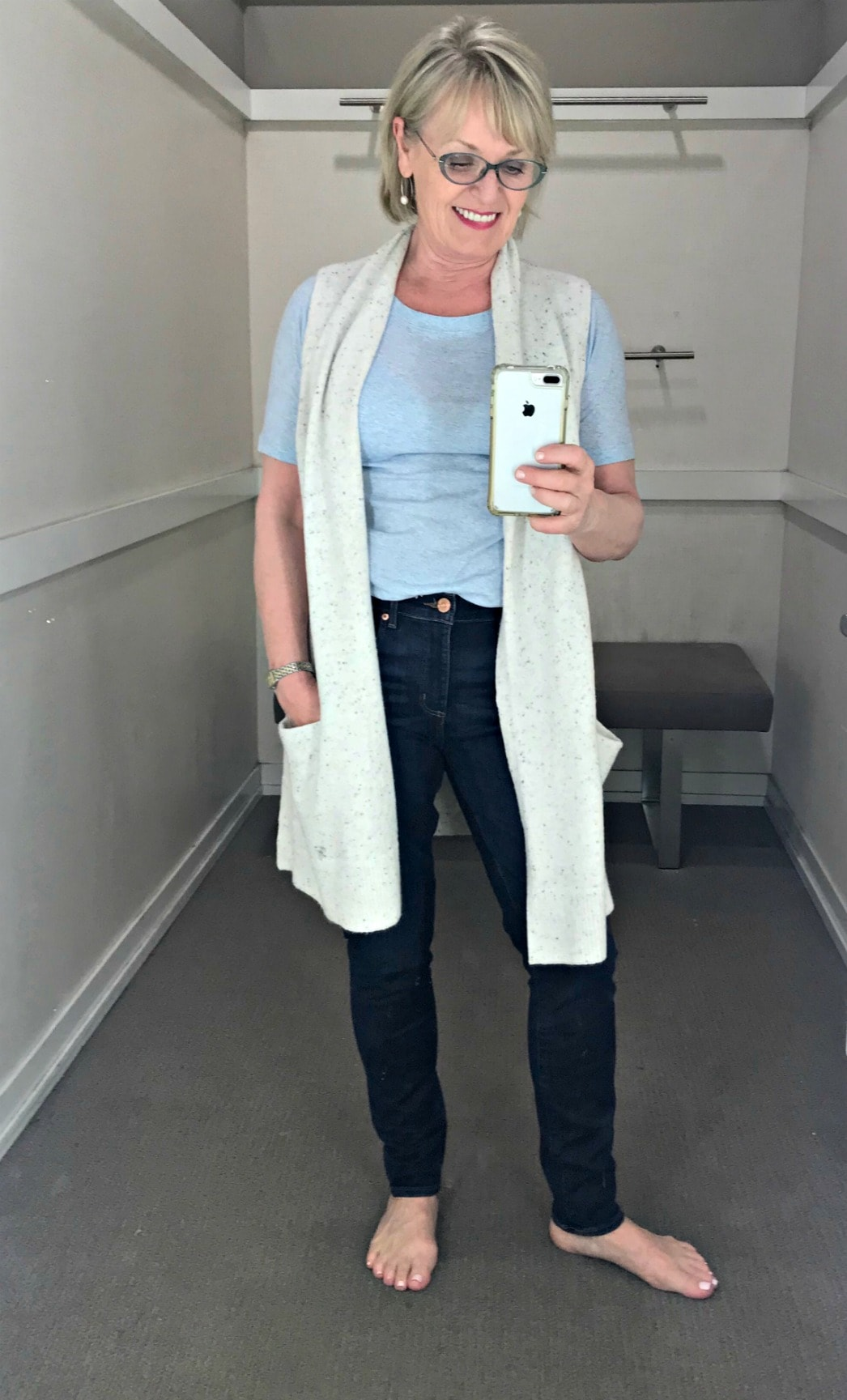 casual outfit on Jennifer Connolly of A Well Styled Life in Loft changing room