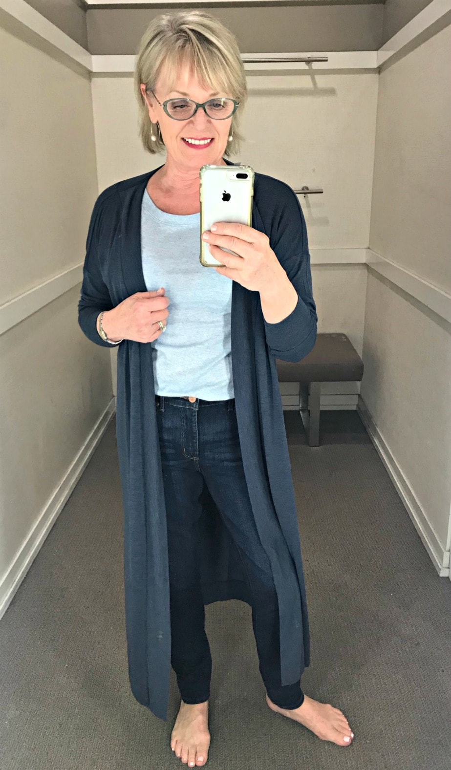 long blue duster, blue tee and skinny jeans for a casual look from Loft on Jennifer Connolly of A Well Styled Life
