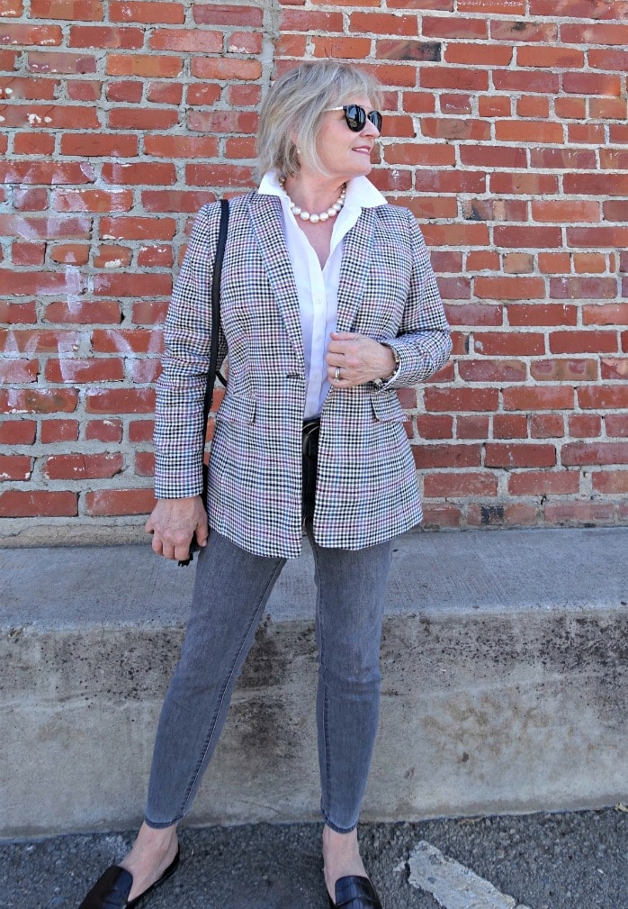 long plaid blazer from Talbots worn with gray jeans and white shirt on A Well Styled Life
