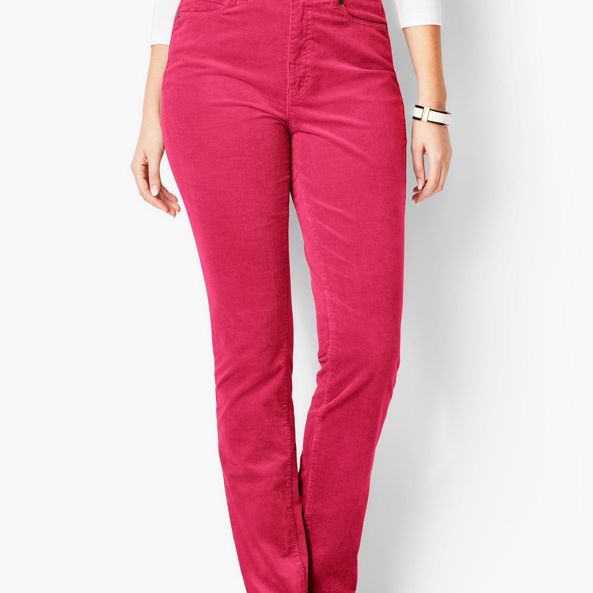 Talbots pink corduroy pants on A Well Styled Life