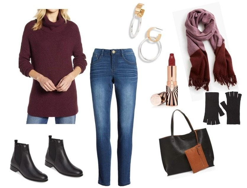 casual dress with ankle boots