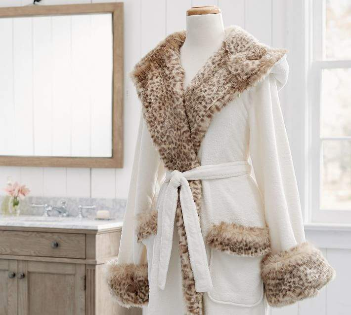 faux fur hooded robe from pottery barn