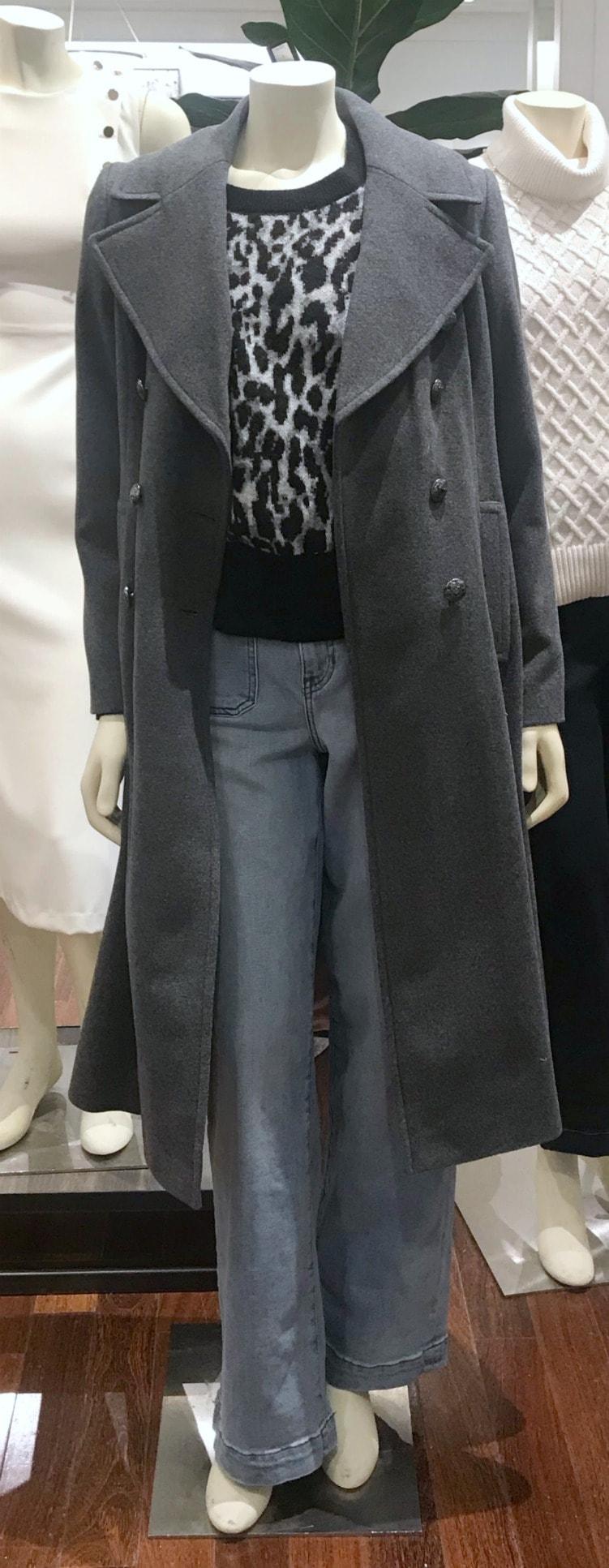 gray reefer coat from Banana Republic