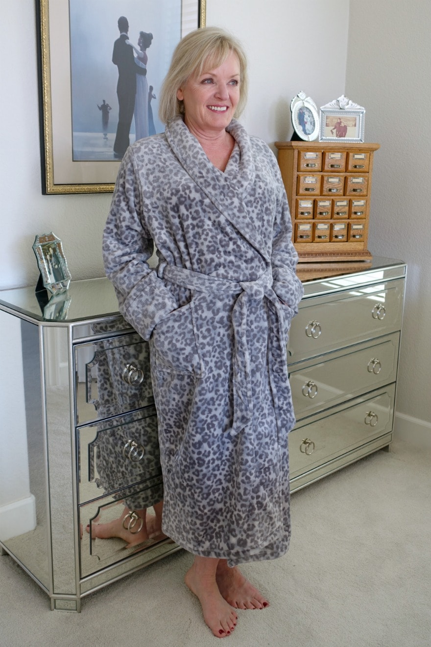 leopard print robe worn by Jennifer Connolly of A Well Styled Life