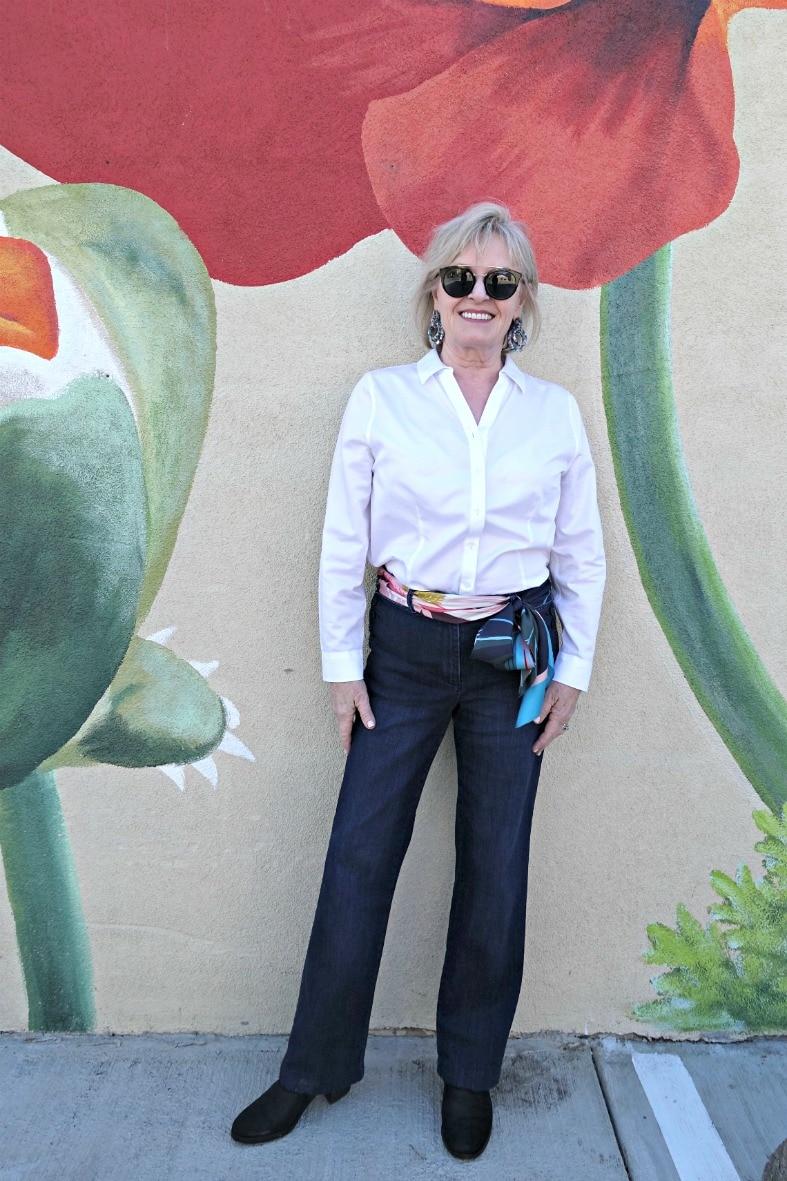 Jennifer Connolly of A Well Styled Life wear silk scarf as a belt