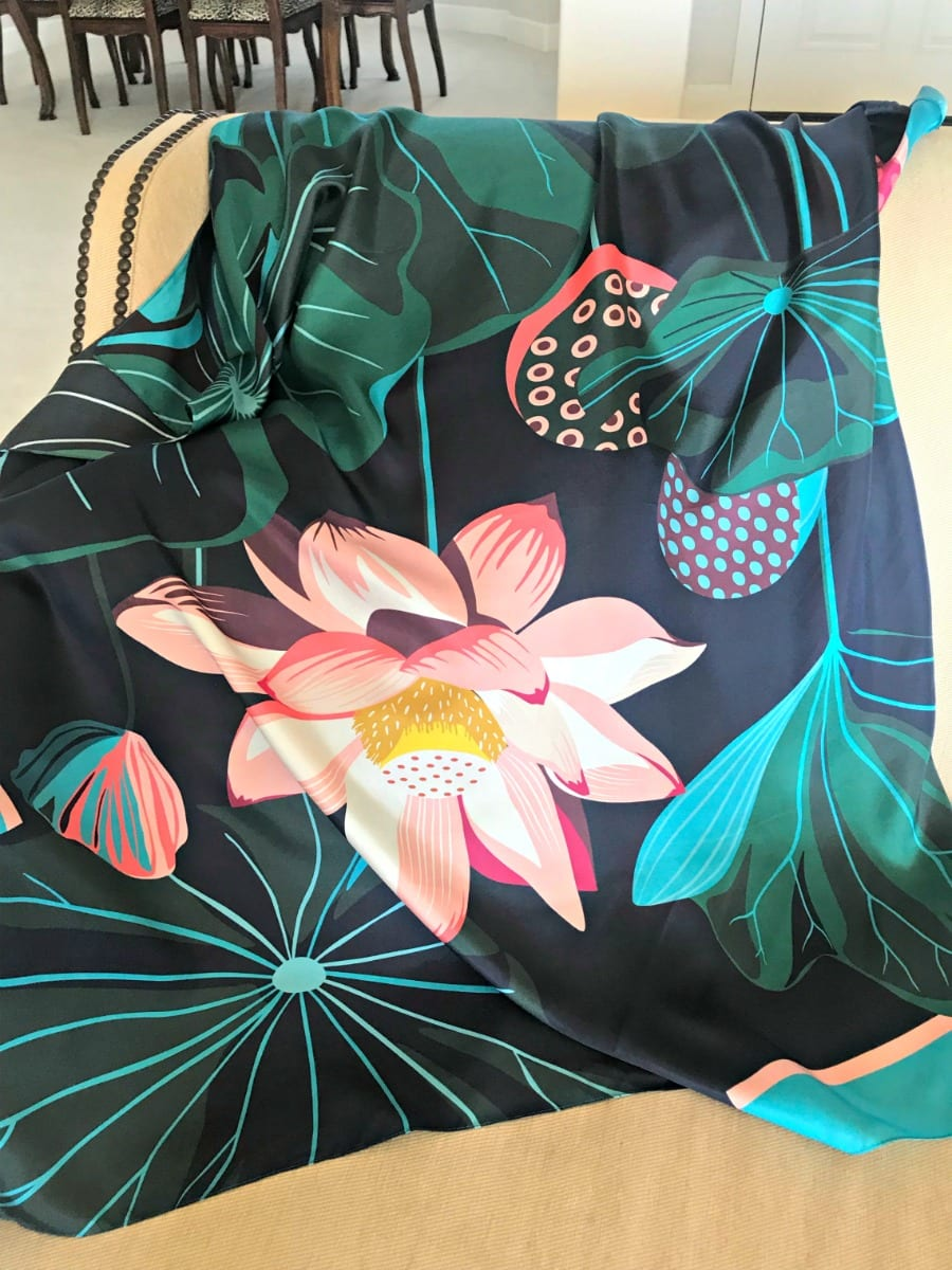 Talbots silk scarf on A Well Styled Life