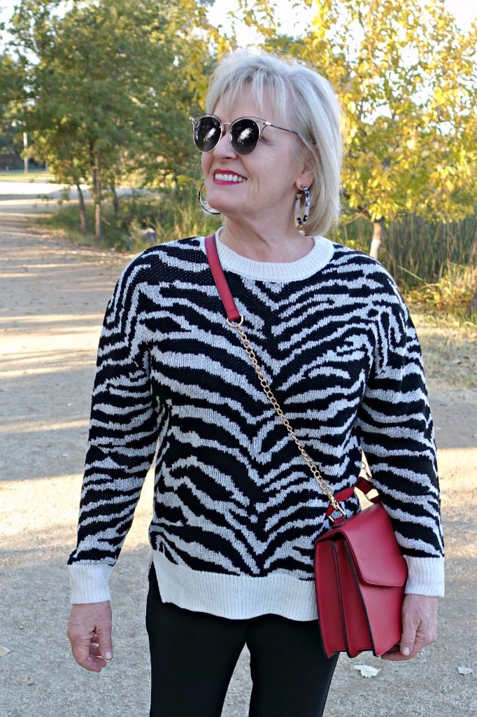 Jennifer Connolly of A Well Styled Life wearing zebra sweater