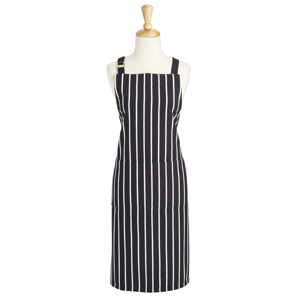blacj and white striped apron