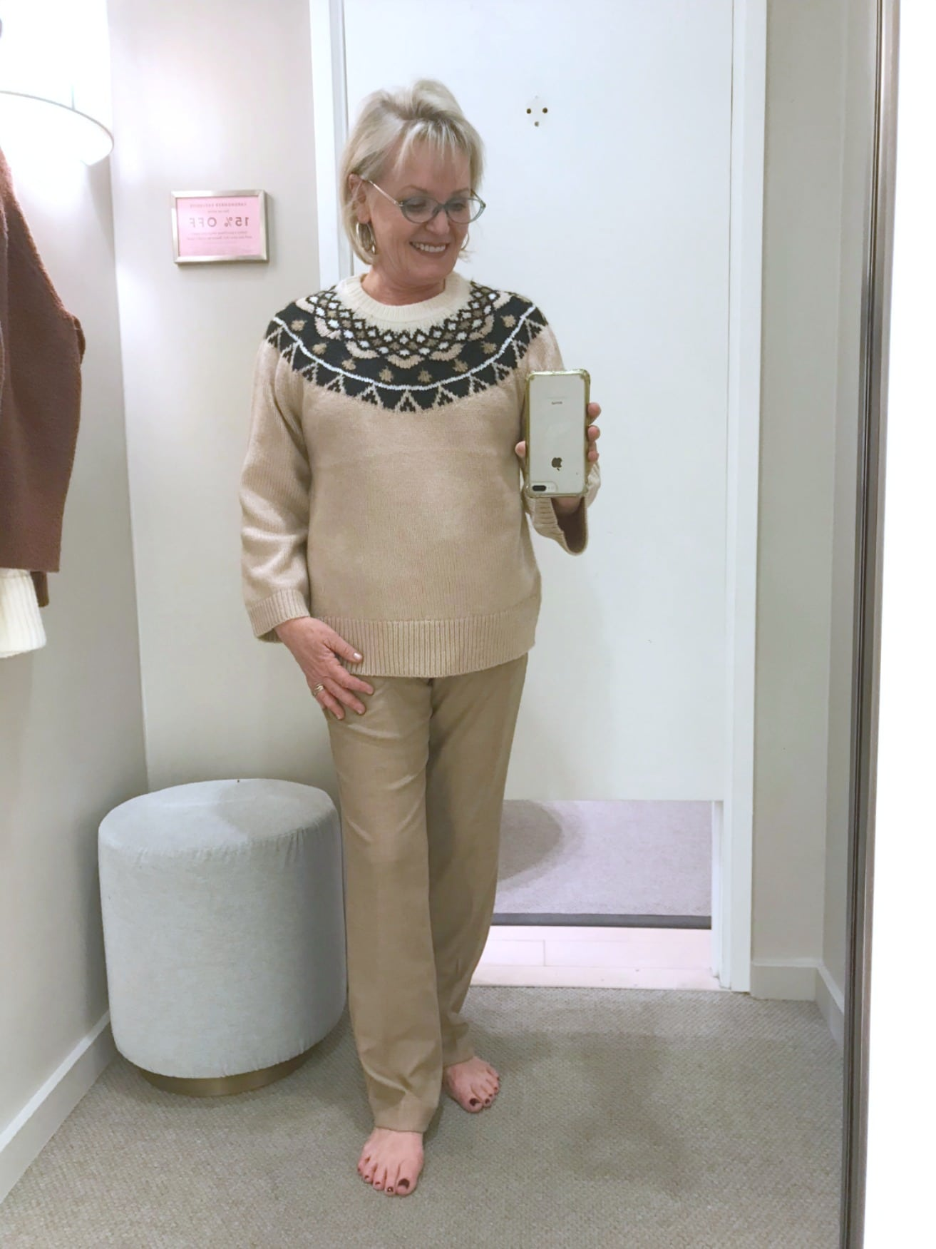 fair isle sweater and straight beige pants from Ann Taylor on A Well Styled Life