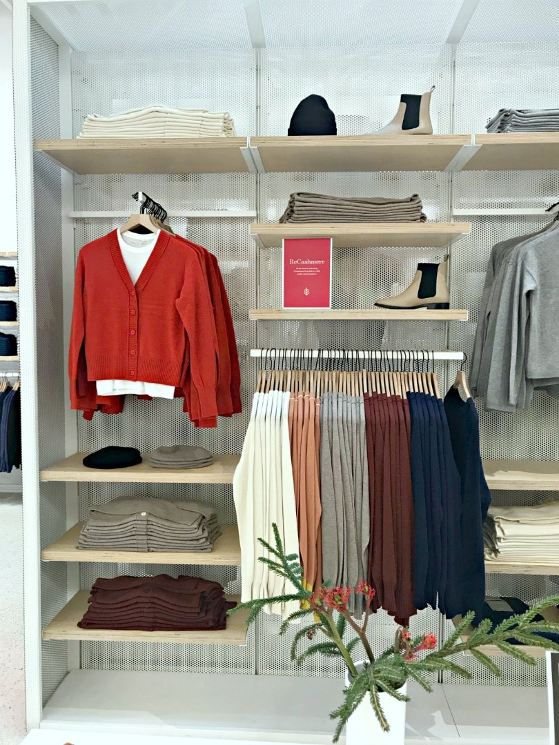 wall display of Re-cashmere at the Everlane store in San Francisco