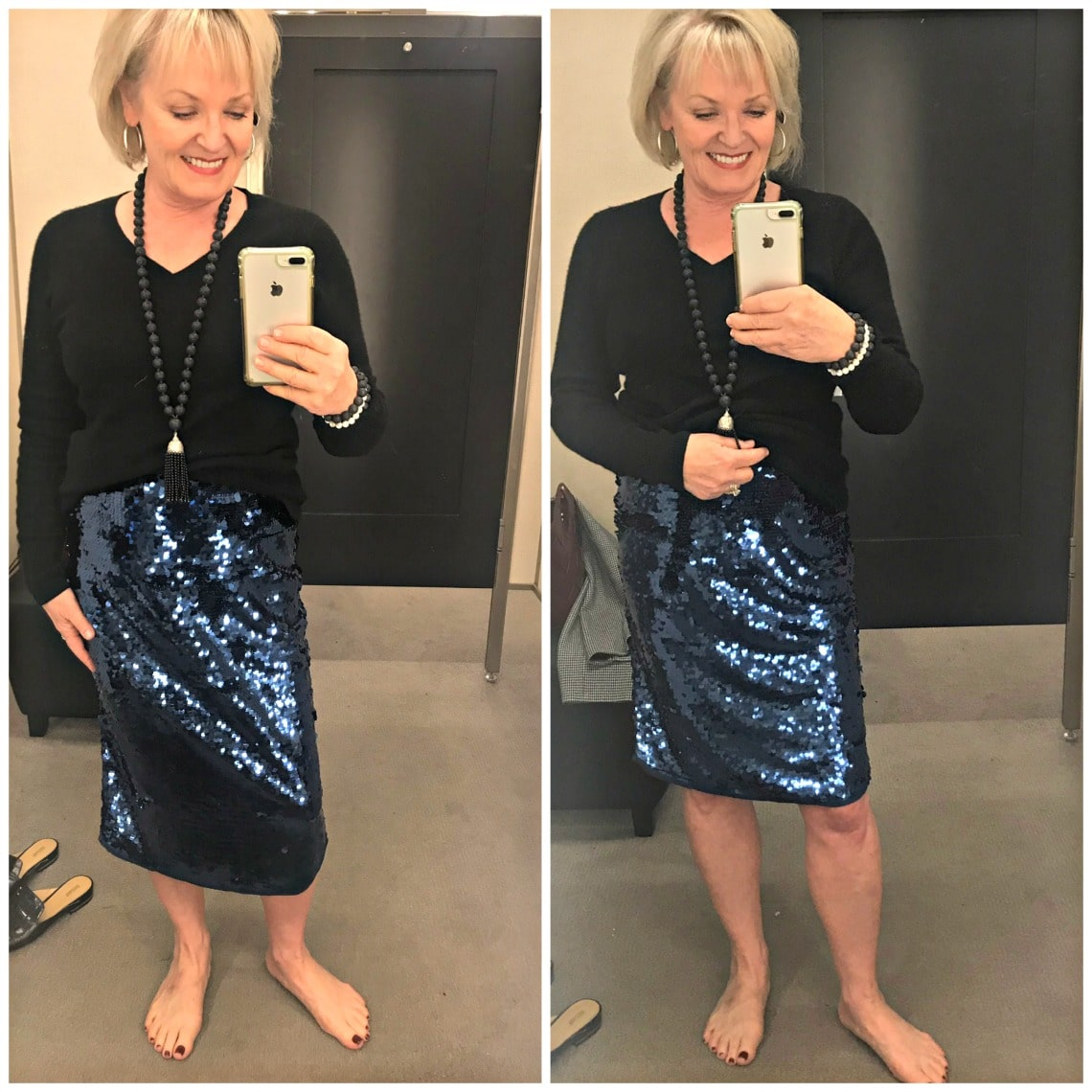 Jennifer Connolly from A Well Styled life wearing sequin skirt with black sweater
