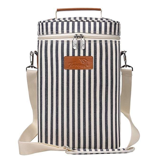 striped wine bottle carrier