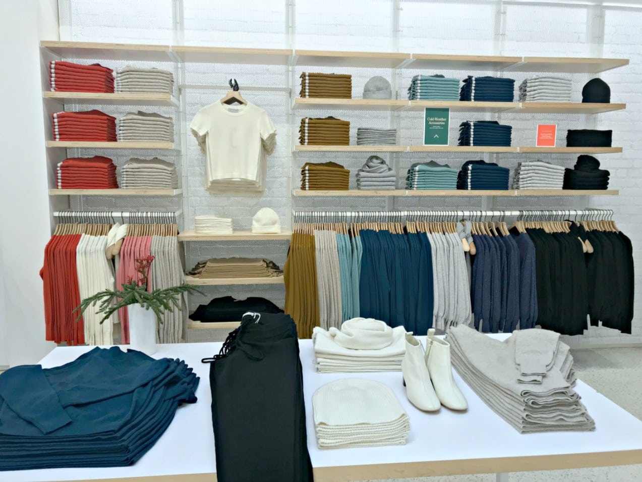 wall display at everlane store on san fransisco
