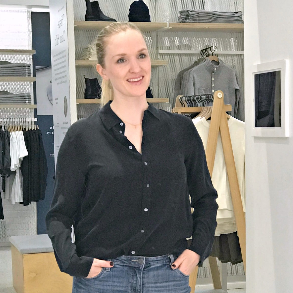 clean silk relaxed shirt from Everlane in black