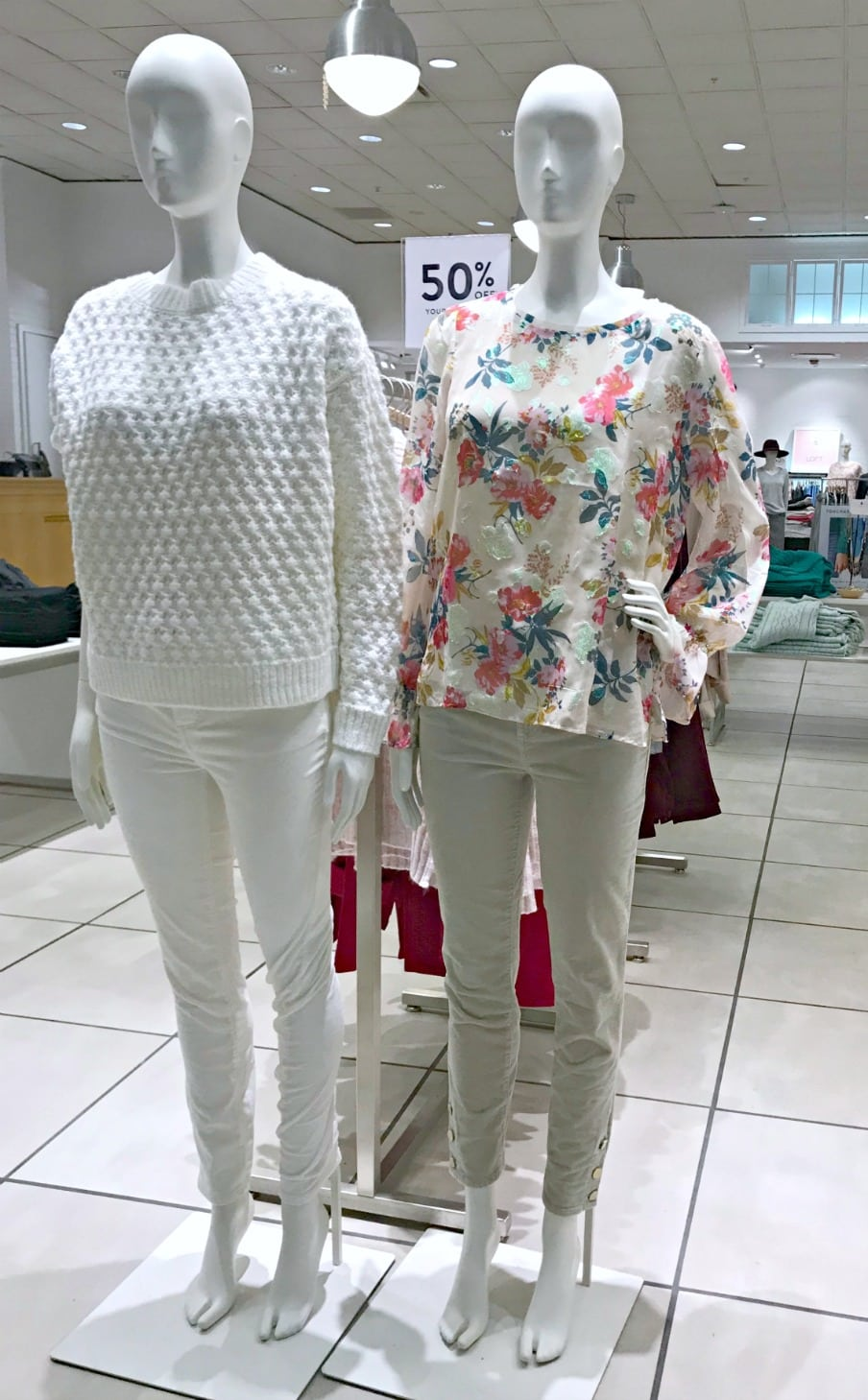 2 mannequins in casual outfits from Loft