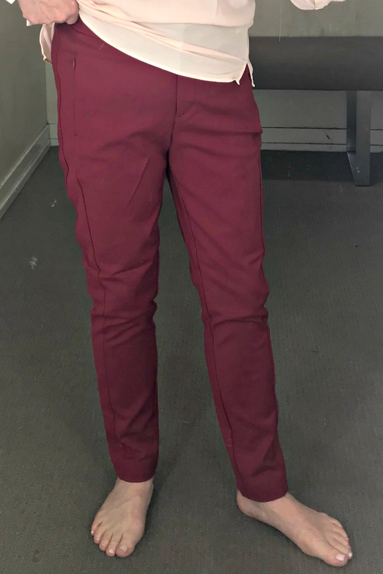 red high rise skinny pants from Loft