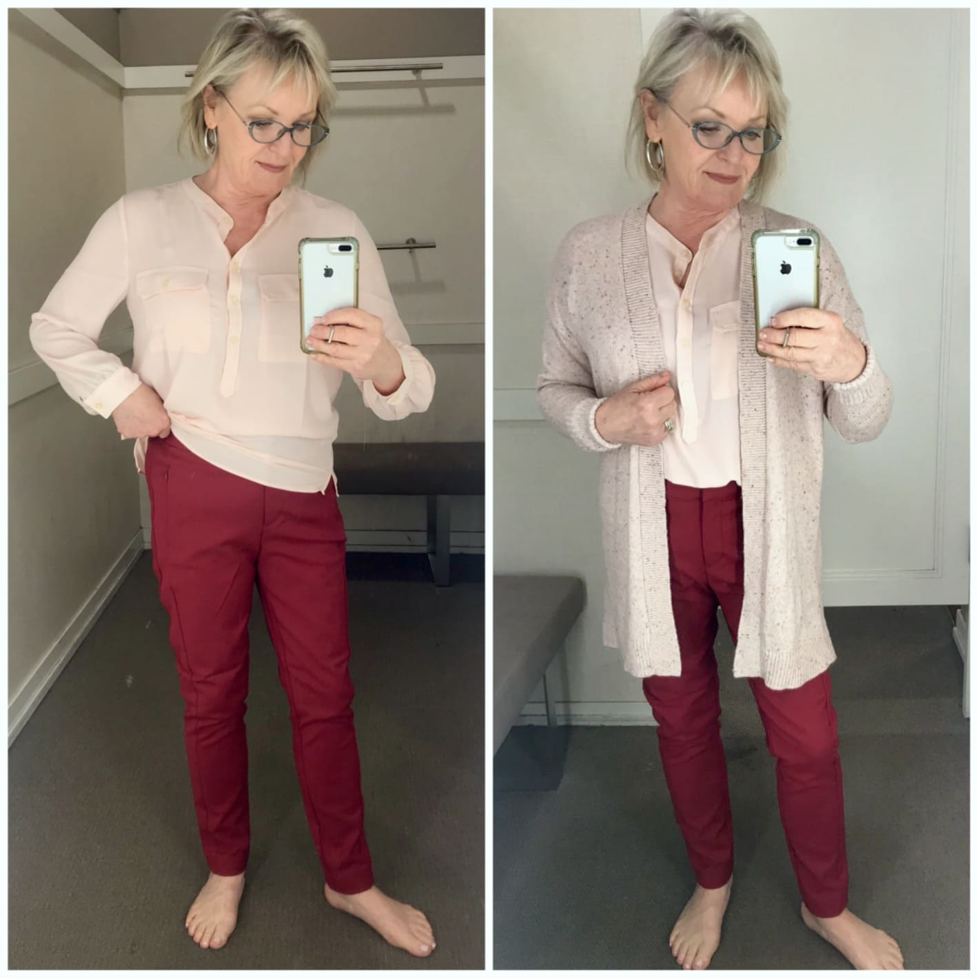 Jennifer Connolly of A Well Styled Life wearing Loft outfit in dressing room