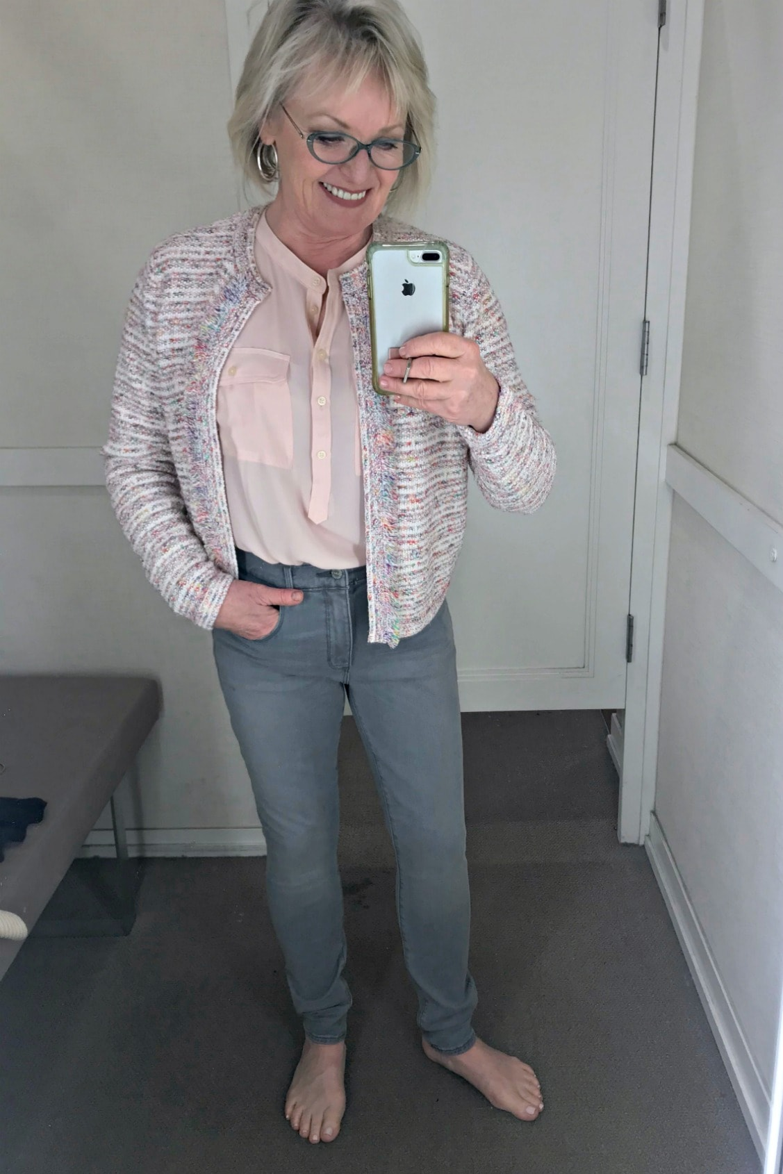 casual outfit with tweed jacket and gray skinny jeans on Jennifer Connolly of A Well Styled Life