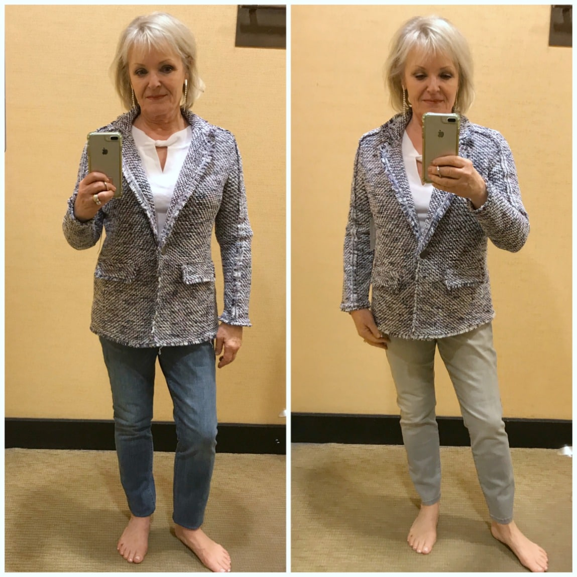showing difference between regualr and petite tweed jacket at Chico's