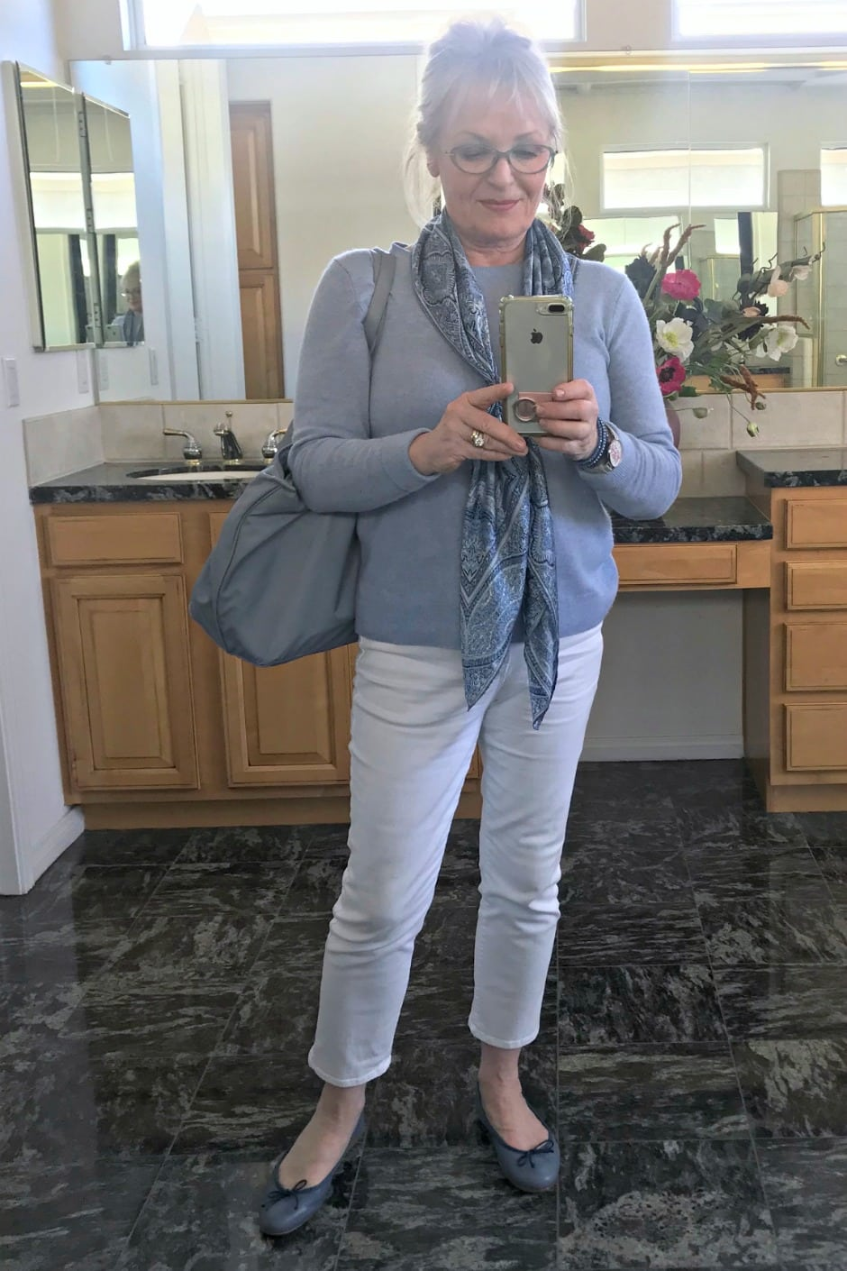 Jennifer Connolly of A Well Styled Life wearing blue and white