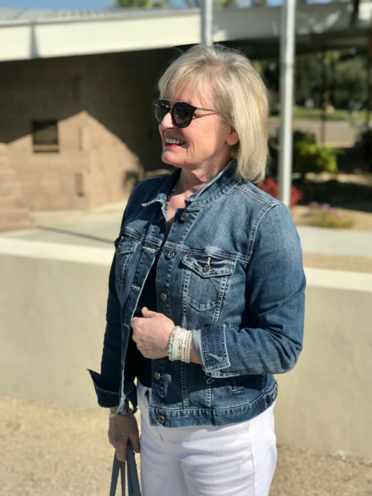 denim jacket and victoria emerson boho cuff on over 50 blogger Jennifer Connolly
