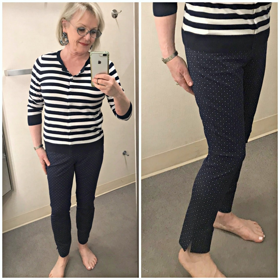 1901 navy pants and striped cardigan on Jennifer Connolly of A Well Styled Life