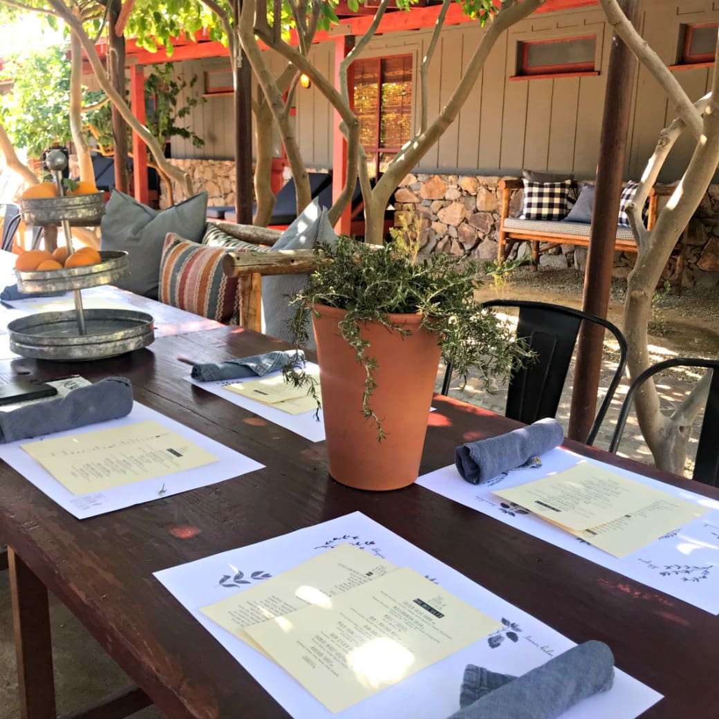 menu and table at sparrow lodge in palm springs