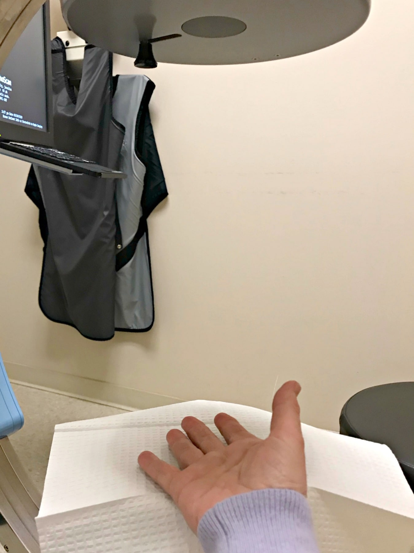 getting a steroid shot into thumb joint with xray machine