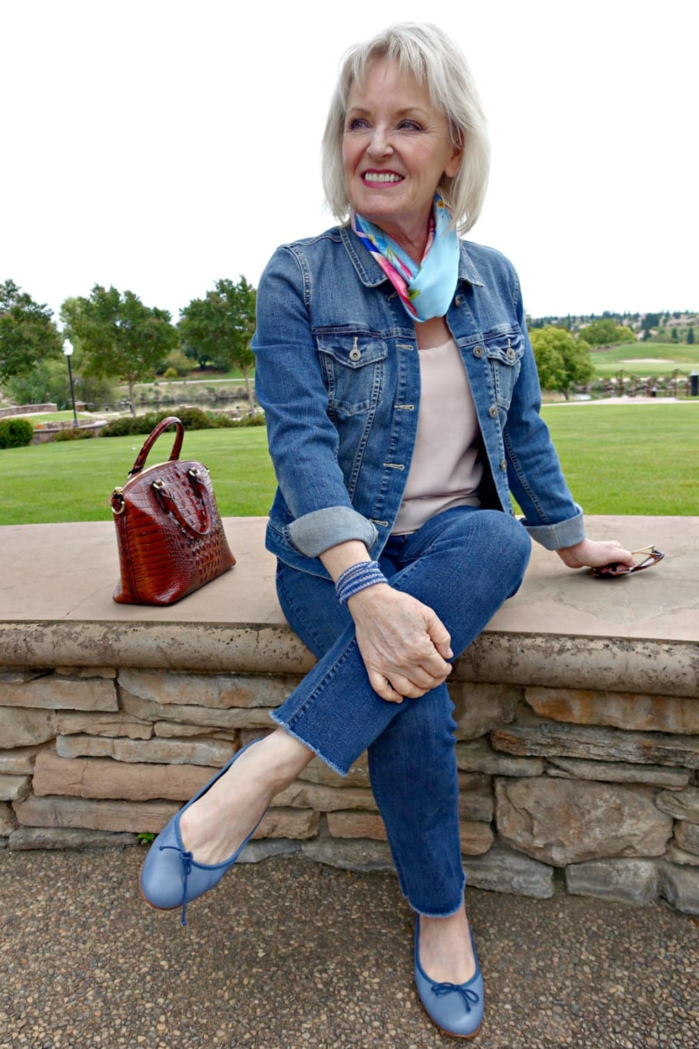 jennifer connolly wearing double denim and blue flats