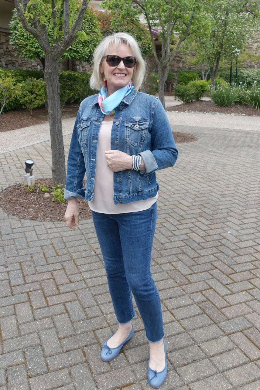 over 50 style blogger Jennifer Connolly wearing double denim