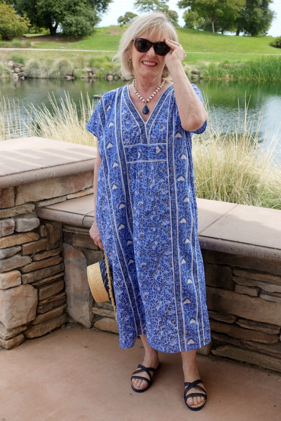 beautiful blue caftan on midlife blogger Jennifer Connolly