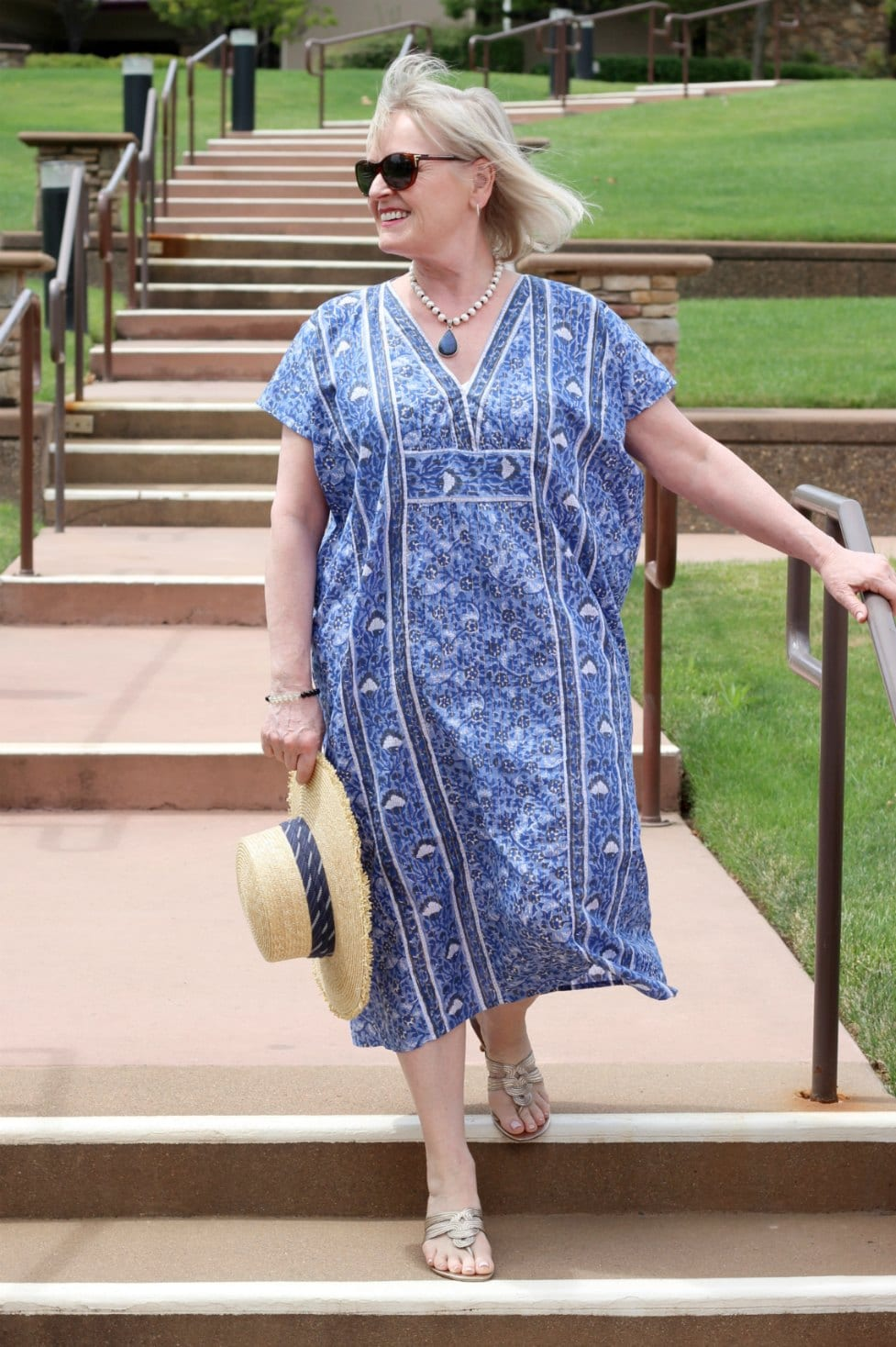 over 50 fashion blogger wearing enerson fry caftan