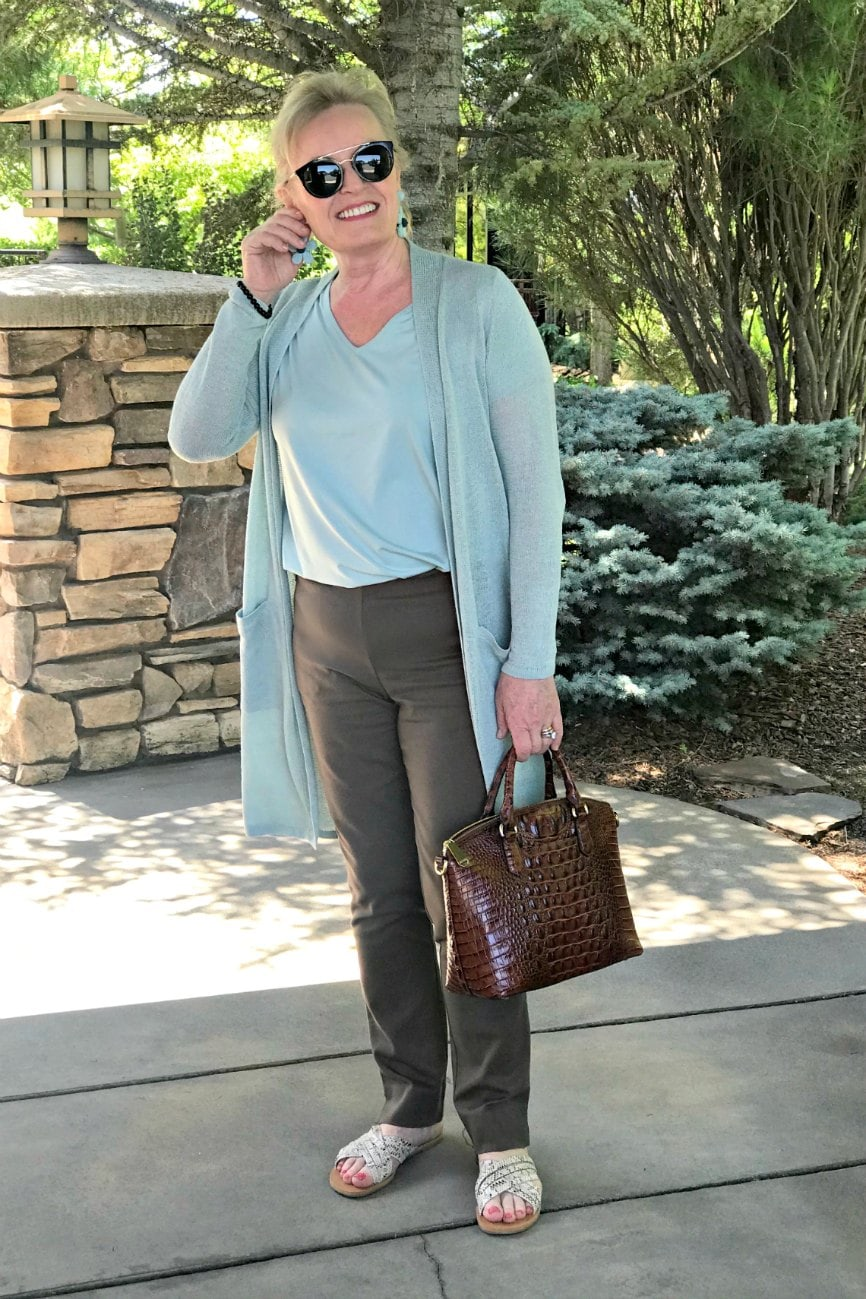 sea green linen sweater outfit on Jennifer Connolly
