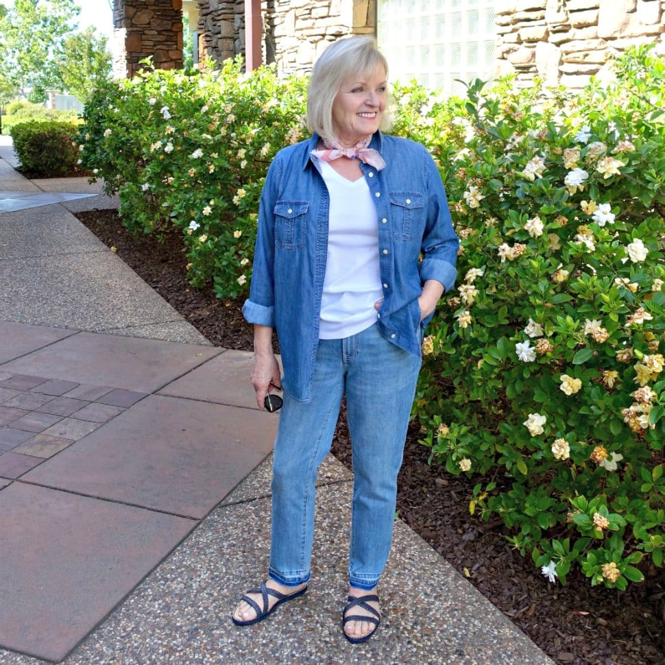 Jennifer Connolly of A Well Styled Life wearing Talbots white tea and denim shirt