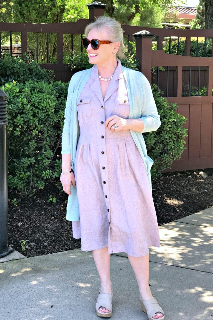 over 50 petite blogger jennifer connolly wearing j.jill dress and sweater