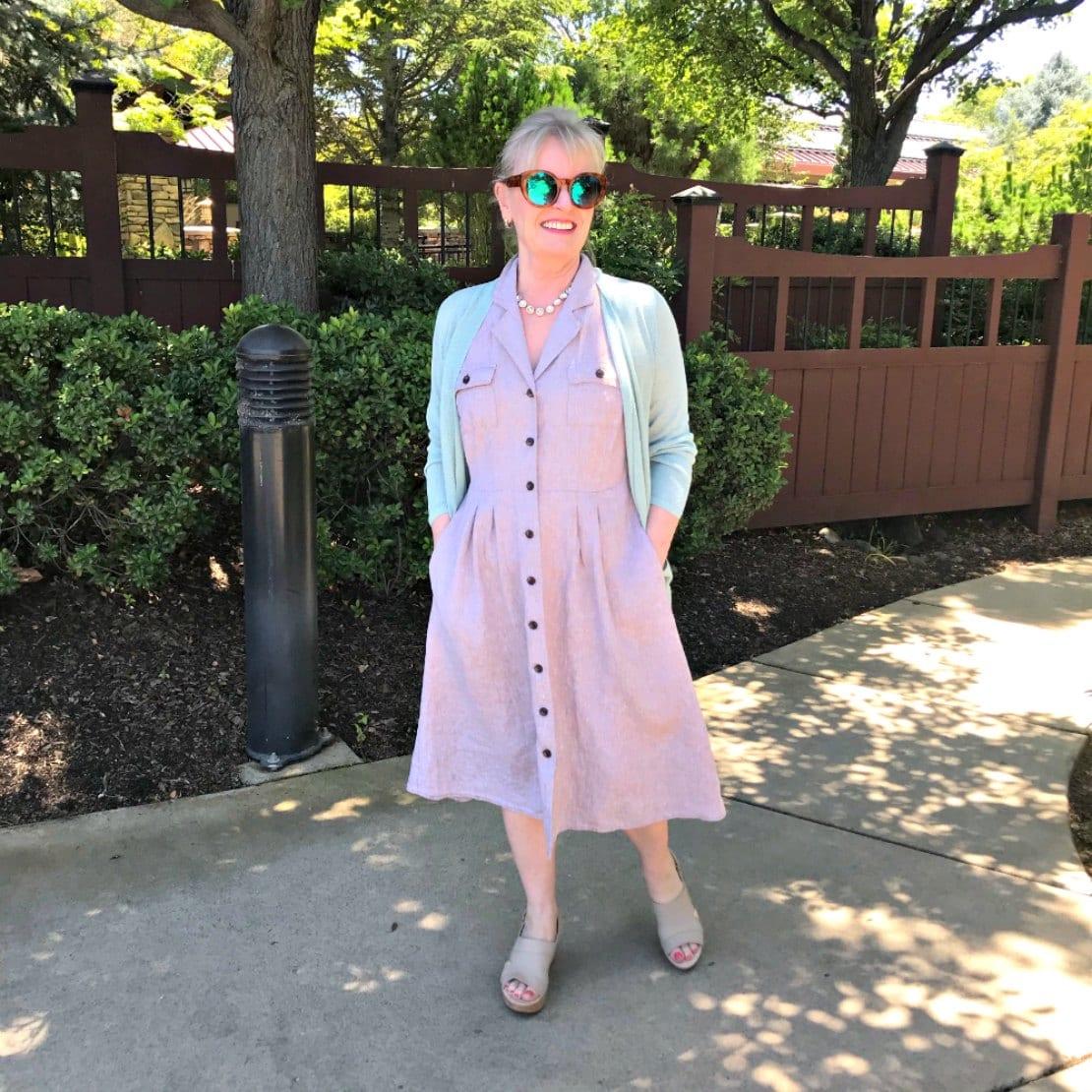 petite over 50 blogger wearing j.jill dress