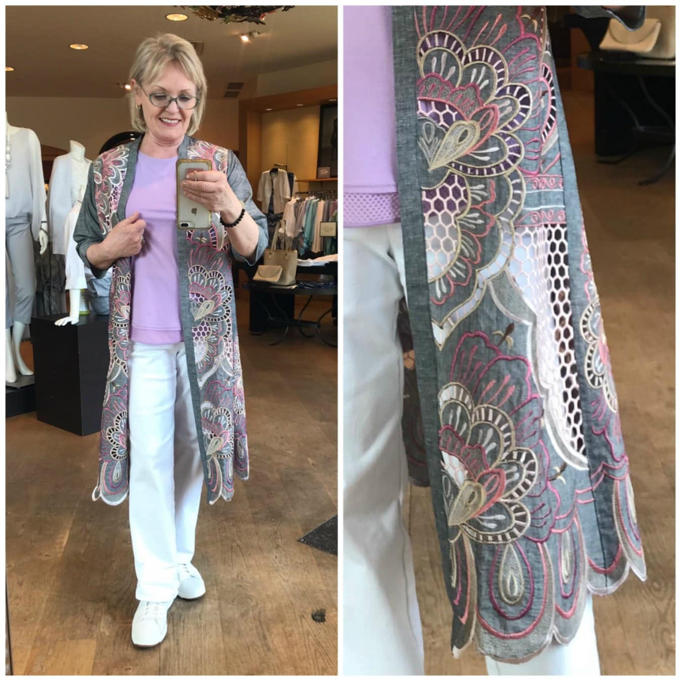 EMBRODERED SCALLOPED HEM KIMONO JACKET from chicos on jennifer connolly of A Well Styled Life