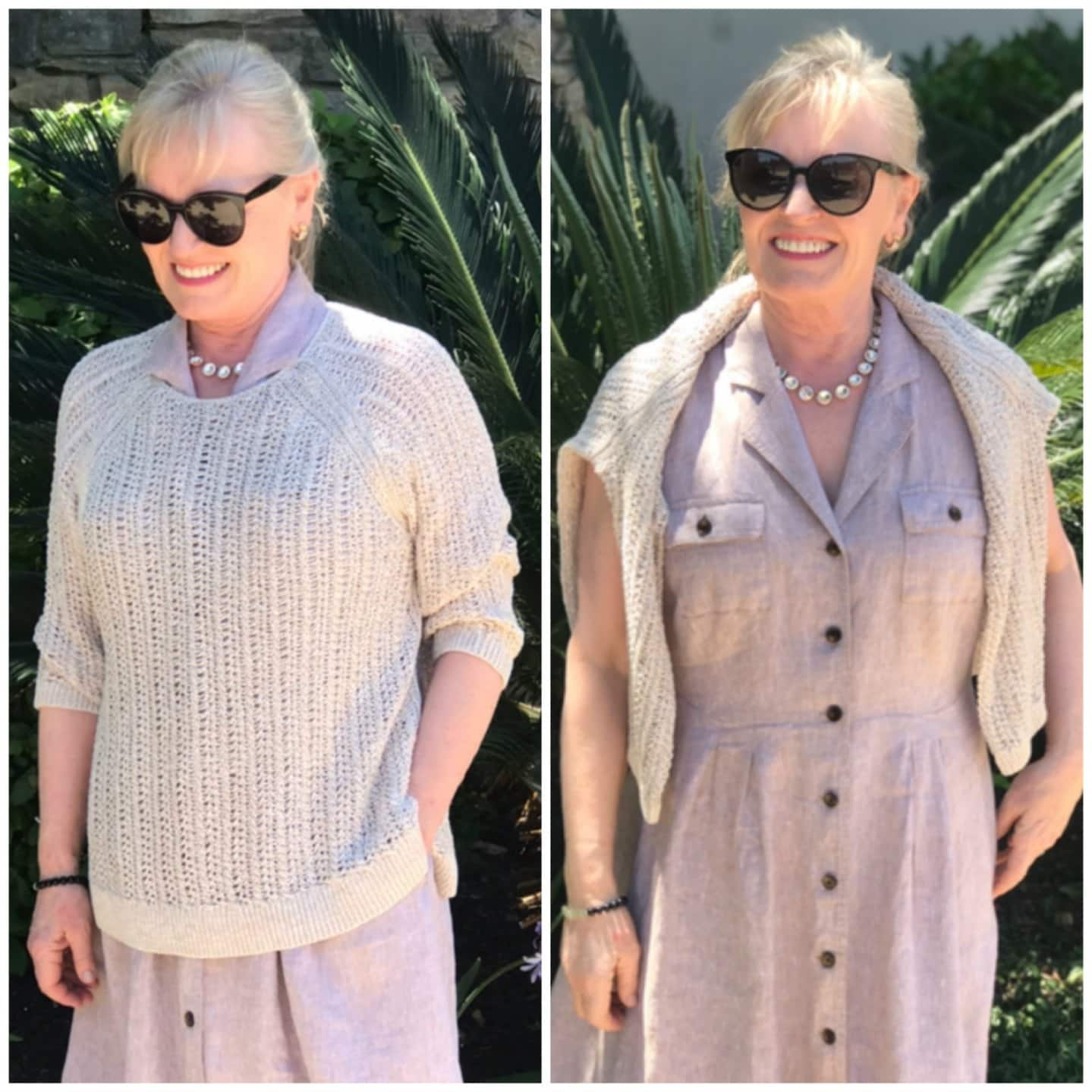 side by side comparision of open knit sweater on over 50 blogger Jennifer Connolly